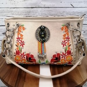 Montana West Aztec Collection Embroidered Satchel